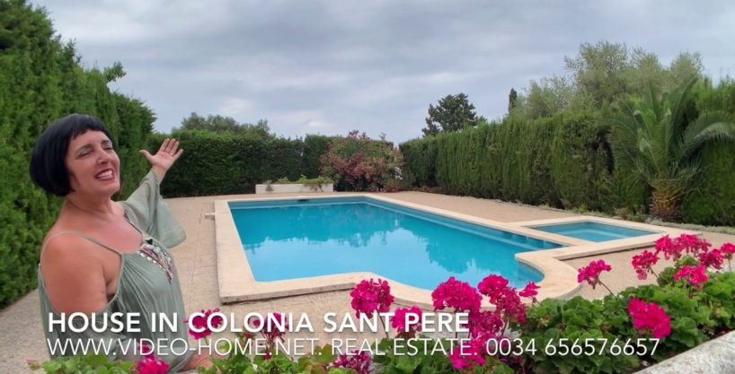 Villa with sea views in Colonia Sant Pere and communal pool. Watch video-documentary