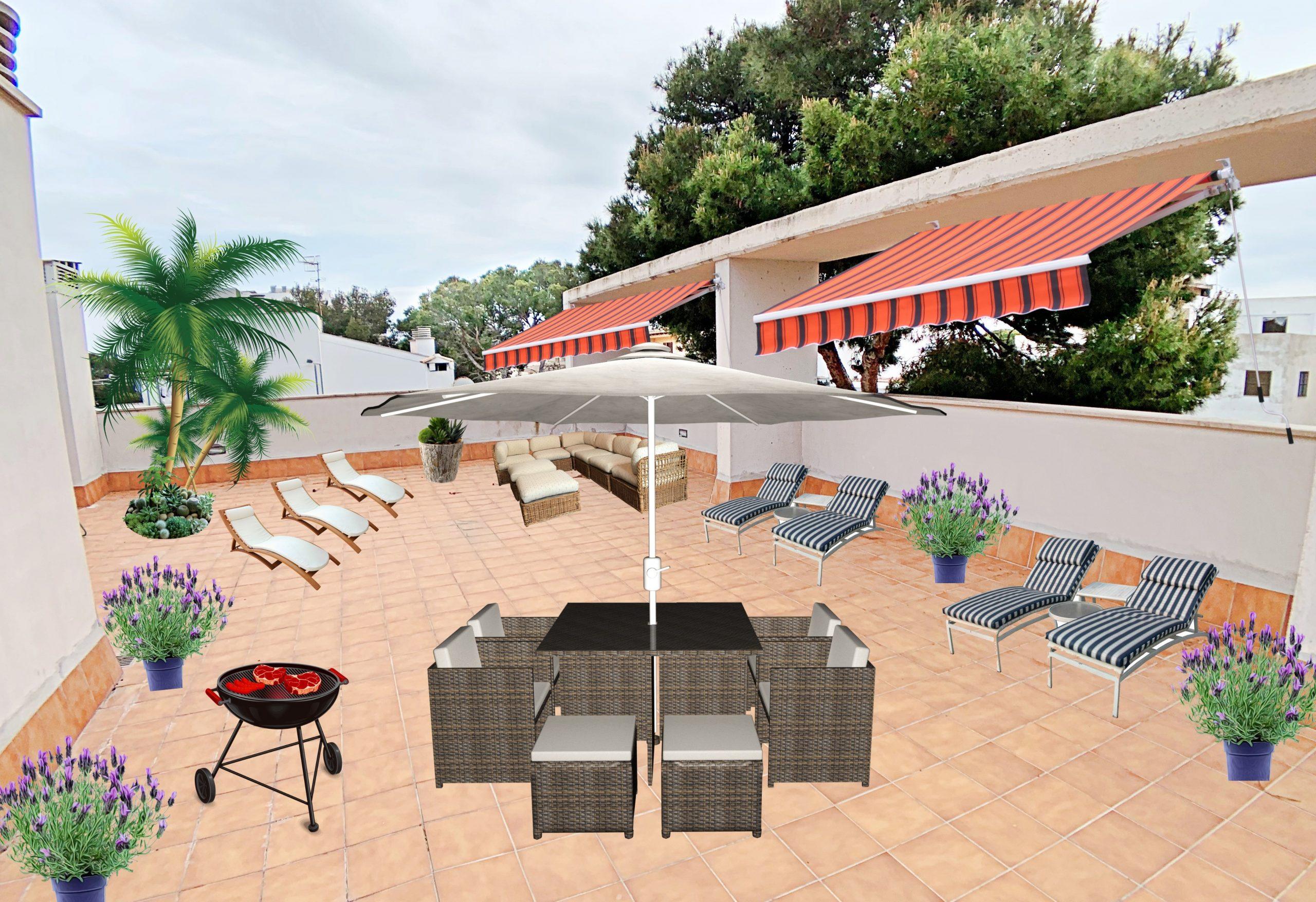 Piso con gran terraza solarium superior y junto a la playa de Cala Millor